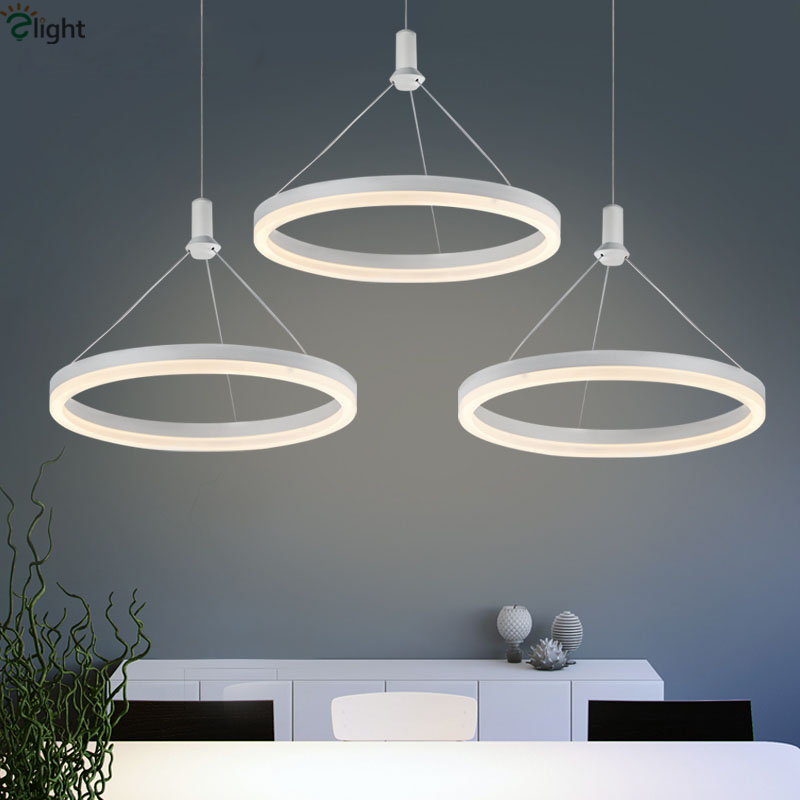 Modern Minimalism Aluminium Luminaria Pendant Light Acrylic Circle Ring Led Suspension Lamp Lustre Hang Light Fixtures