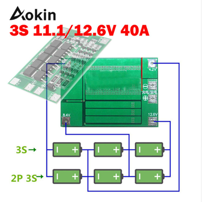 Aokin <font><b>3S</b></font> <font><b>40A</b></font> <font><b>BMS</b></font> 11.1V 12.6V <font><b>18650</b></font> Lithium Battery Protection Board with Enhance/Balanced Version For Drill <font><b>40A</b></font> current Diy Kit image