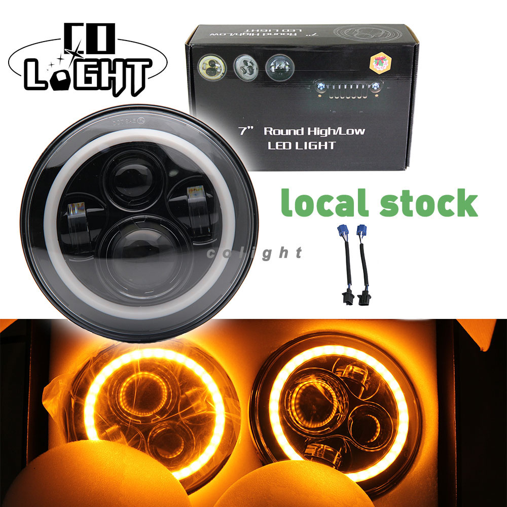 CO LIGHT 7 Inch Led Headlight Round H4 H13 Hi Lo 6000K 50W 30W DC 12V 24V with Yellow Angel Eyes for Off Road Jeep ATV Bike LADA h4 7 led headlights with led car canbus led chip 80w 8000lm 6000k hi lo led driving light for off road uaz lada