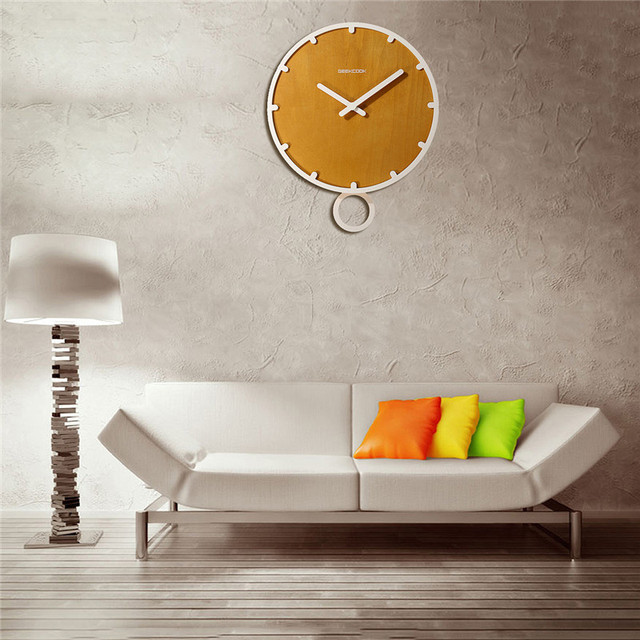 Charminer Contracted Circular Wooden Wall Clock On Wall Quartz Wall Clock In The Living Room Needle Display Home Design 2 Color