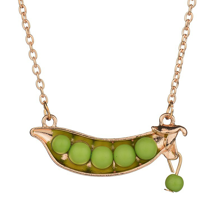 New Design Green Pea Pendant Necklaces Peas Pod Necklaces&Pendant For Women Alloy Short Sweater Chain Fashion Jewelry Kolye Gift