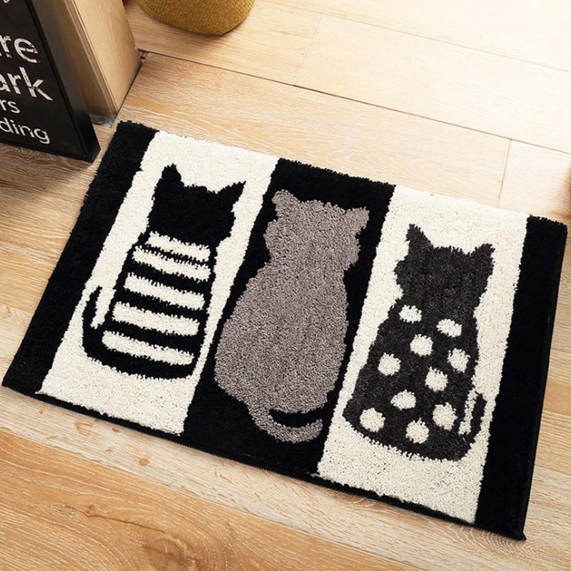 Stylish Cute Home Black And White Cats Feet Convenience Area Rug Room Carpet Floor Mats Bedroom Bathroom Door Mat Shag Rugs