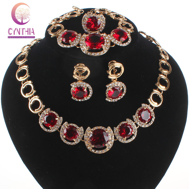 Women Wedding Jewelry Sets Classic Red Gem Crystal Gold Plated Crystal Zircon Earring Pendant Necklace Ring