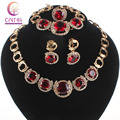 Women Wedding Jewelry Sets Classic Red Gem Crystal Gold Plated Crystal Zircon Earring Pendant Necklace Ring Bracelet Jewelry Set