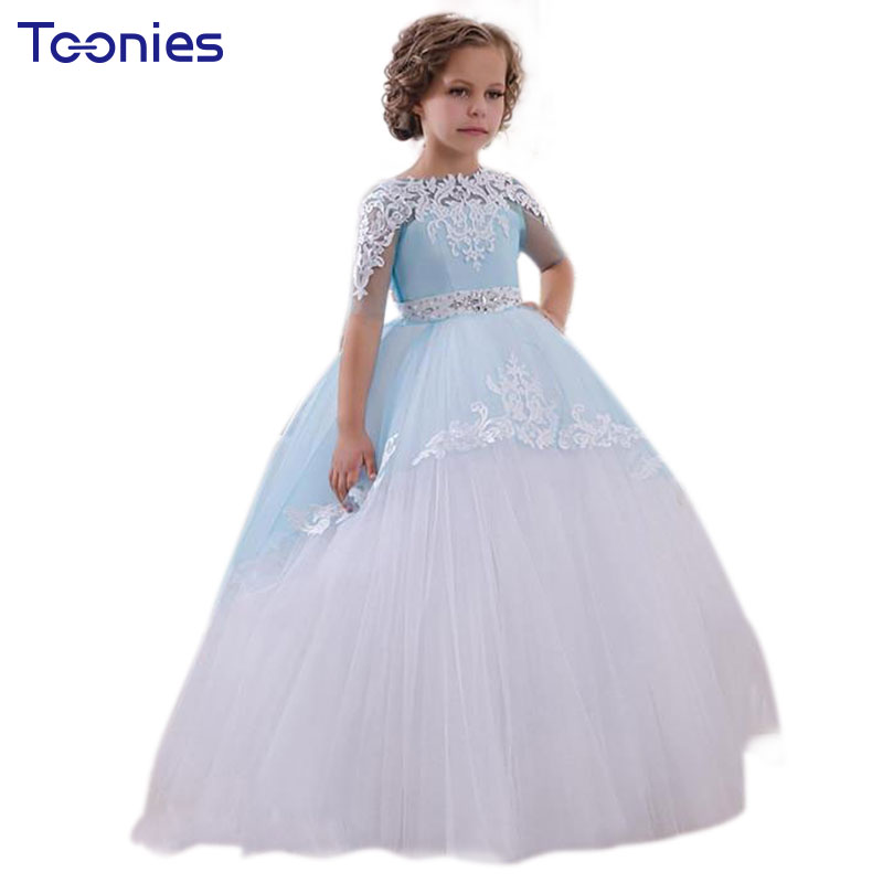 Lace Sleeve Diamond Princess Formal Long Dress Flower Girls Wedding Party Dresses Teens Girl Graduation Ceremonies Prom Costumes