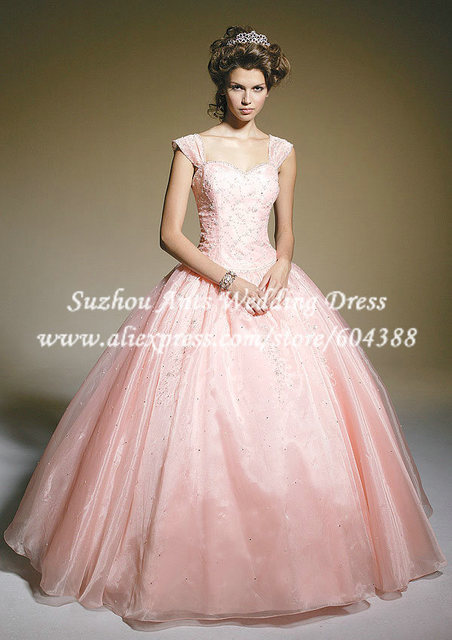 Cap Sleeve Beaded Light Pink Quinceanera Dresses Ball Gown Prom ...