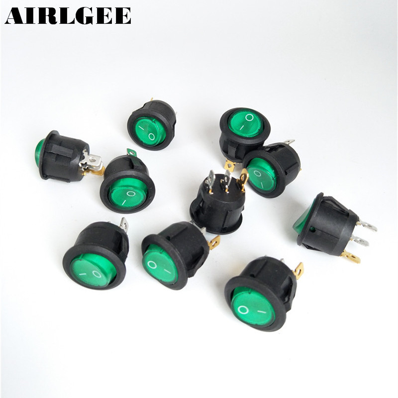 High quality 10pcs Green Light Illuminated 20mm Mounting holes ON-OFF SPST 3Pin Round Rocker Switch 6A/250V 10A/125V AC 5 pcs ac 6a 250v 10a 125v 3 pin black button on on round boat rocker switch