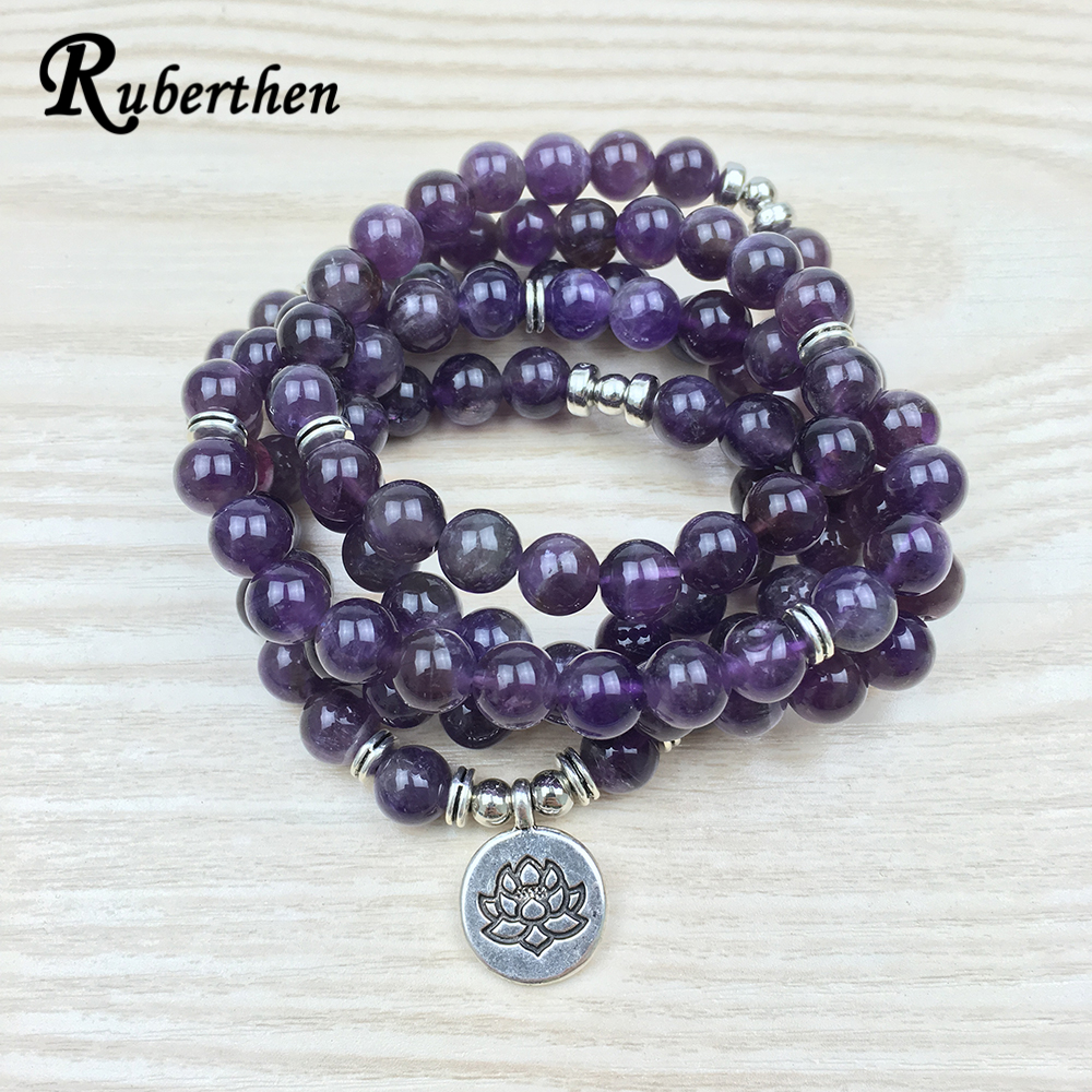 Ruberthen 2017 Luxurious Design Purple Natural Stone 108 Mala Lotus Bracelet or Necklace Reiki Charged Buddhist Rosary Bracelet