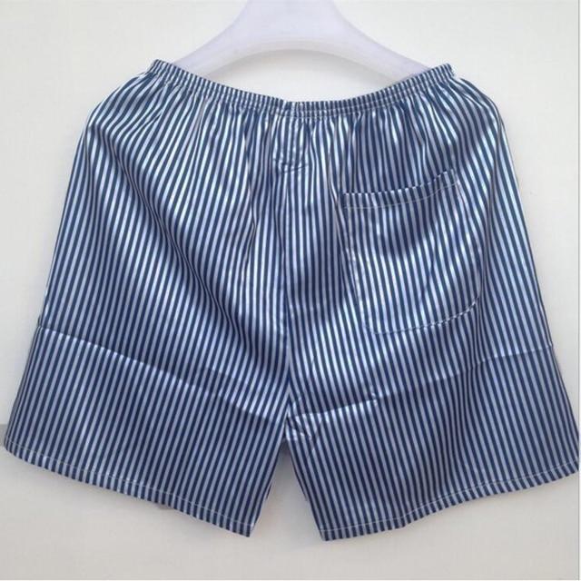 Дышащий атласные шелковые пижамы шорты Для мужчин полоску вискоза шелковые пижамы летние мужские Пижамные шорты мягкая ночная рубашка для Для мужчин пижамы