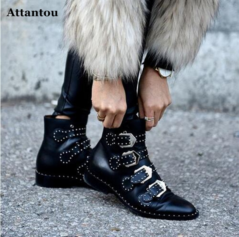 New Spring Autumn Genuine Leather Tactical Ankle Boots For Female Western Vintage Rivets Studded Motorcycle Punk Shoes Woman2017 2017 new autumn genuine leather mobile