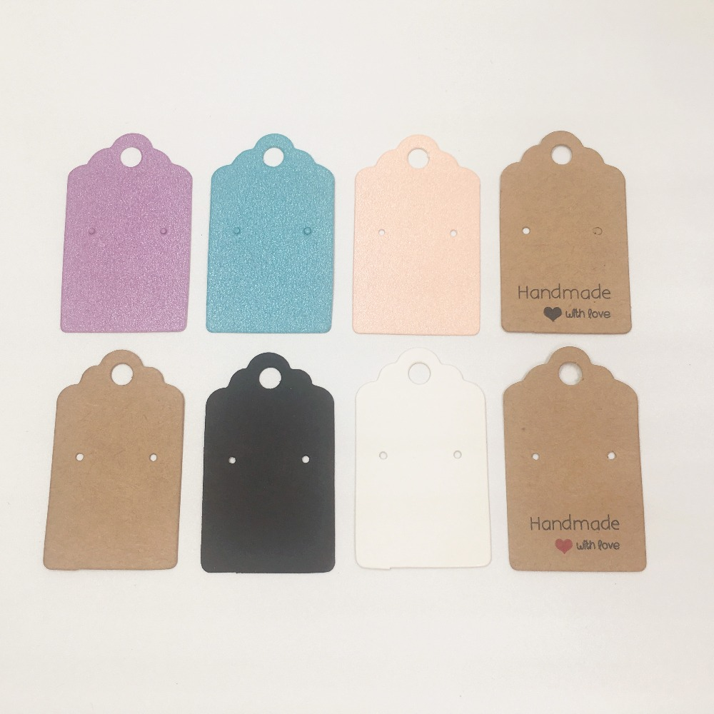 50pcs/lot  5*3cm Paper Earring Cards Handmade With Love Colorful Earring Cards Hanging Jewelry Display Cards