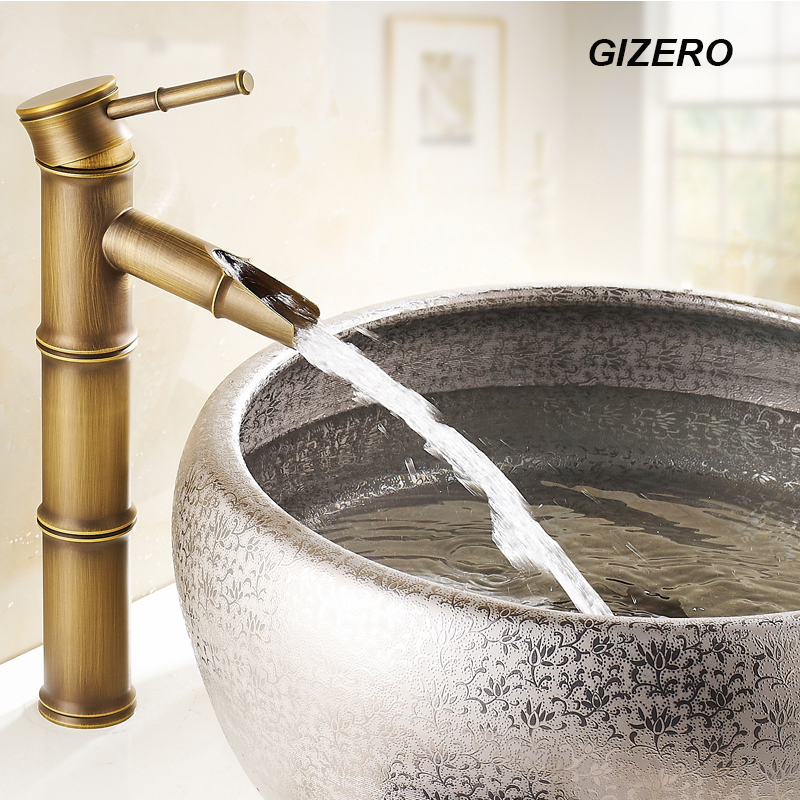 Bathroom Bamboo Faucet Antique Finish Copper Sink Mixer Tap Deck Mounted Hot And Cold Water