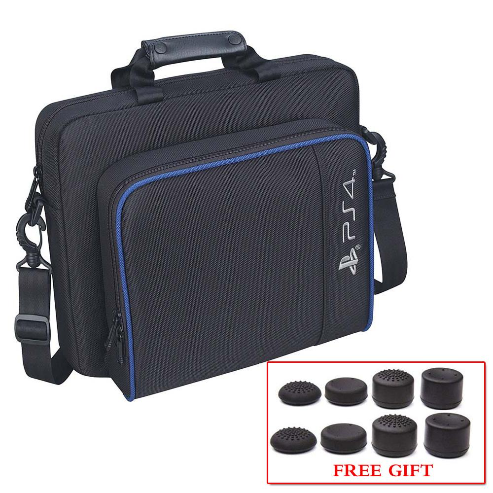 PS4 Storage Bag Travel Protective Case Handbag Shoulder Bag with 8Pcs FPS PRO Thumb Grips for Sony Playstation 4 Console image