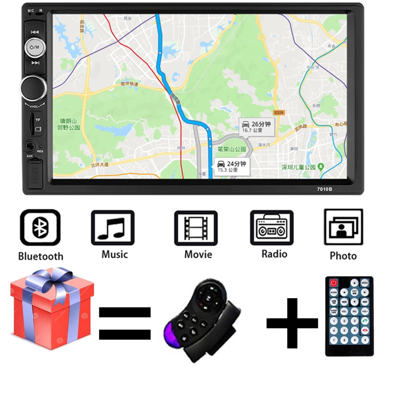 Multimedia-Player Autoradio Touch-Screen Rear-View-Camera Bluetooth Stereo 2-Din 7010B