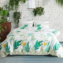 Green Leaves Bedding Set Pillowcase Duvet Cover Sets Bedclothes Flower Printed White Quilt Cover Polyester Sanding Home Textiles(China)