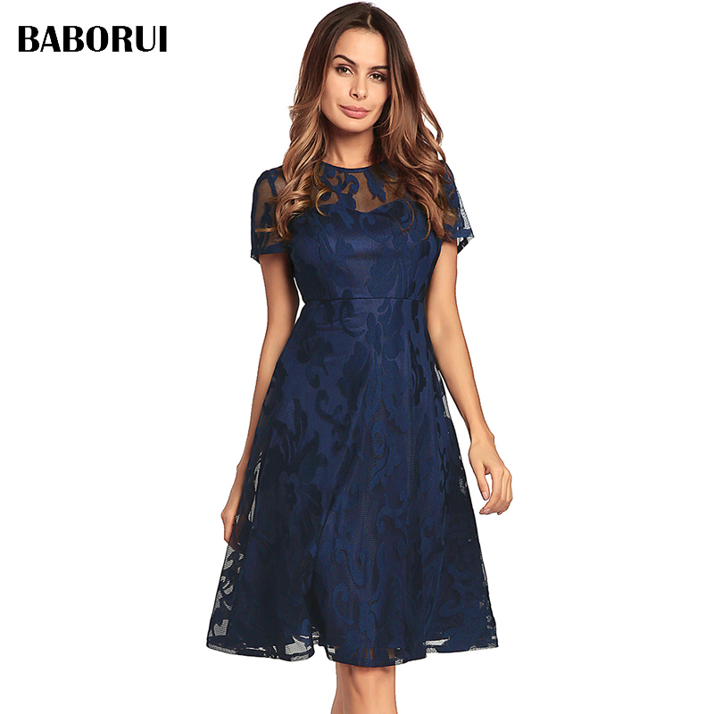 Baborui Summer Elegant Knee Length Dress Sleeve Retro