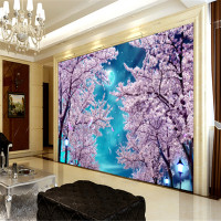 Custom Modern 3d Photos Wallpaper Wall Murals 3d Wallpaper Blue Sky Cherry Blossom Trees Tv Sofa