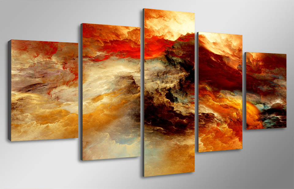 5 panel modern printing landscape picture clouds sea canvas painting wall art home decoration living room frame DC1 100 60 in Painting Calligraphy from Home Garden