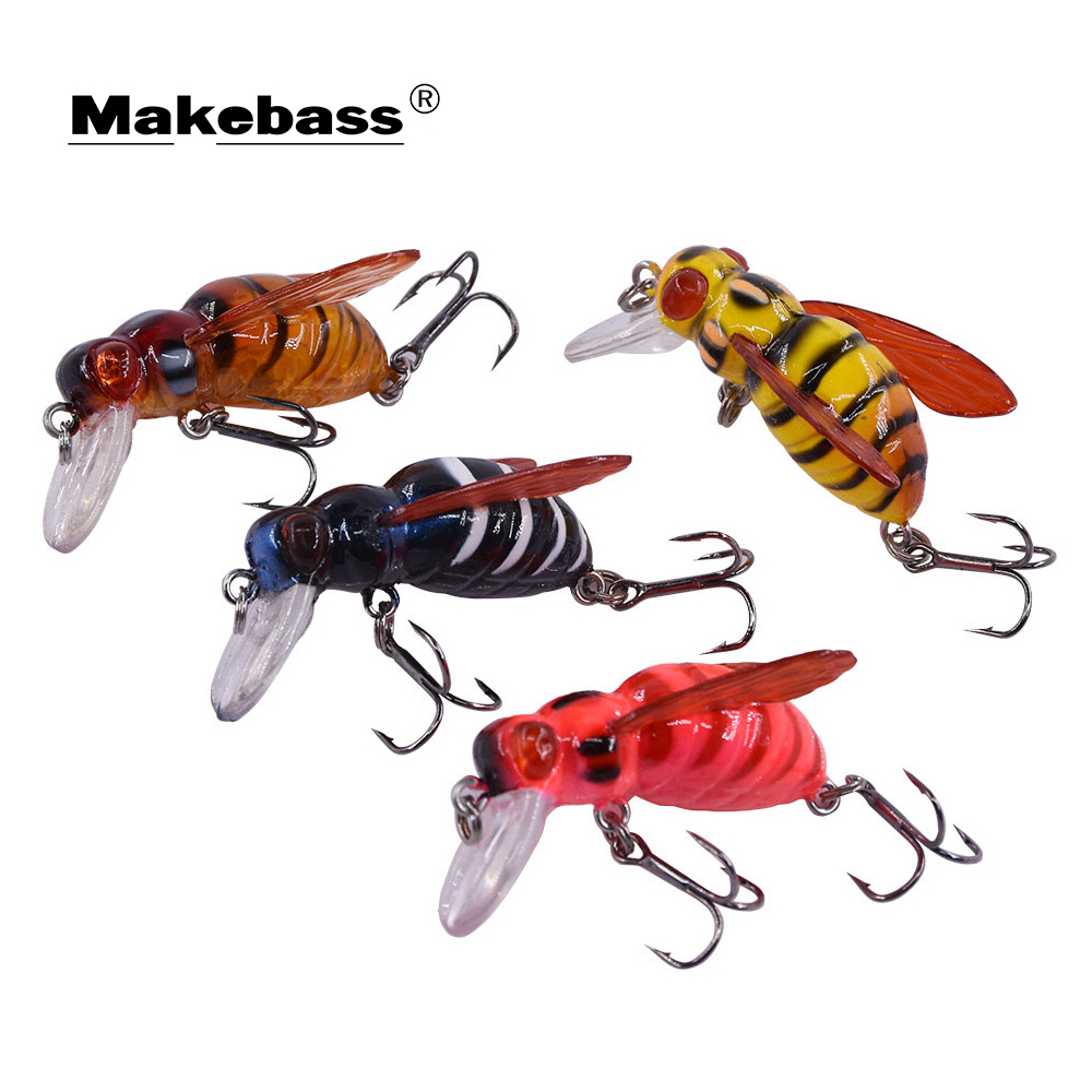 Makebass Carnada Artificial Bee-Shaped Fishing Bait Insect Bumblebee Fishing Lures Topwater CrankBait Bass Fishing Tackle