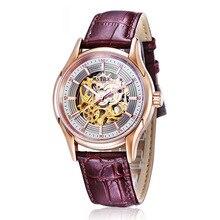 Nuevos Hombres De Lujo reloj Mecánico Esquelético del Reloj Del Deporte Militar Hombres Grabado Hueco Elegante Correa de Cuero Genuina relojes de Oro
