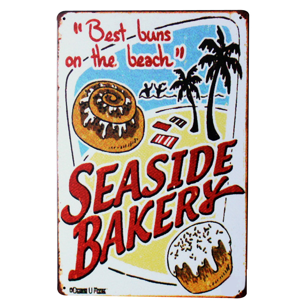Seaside bakery holiday metal tin sign vintage food plague for Decoration retro cuisine