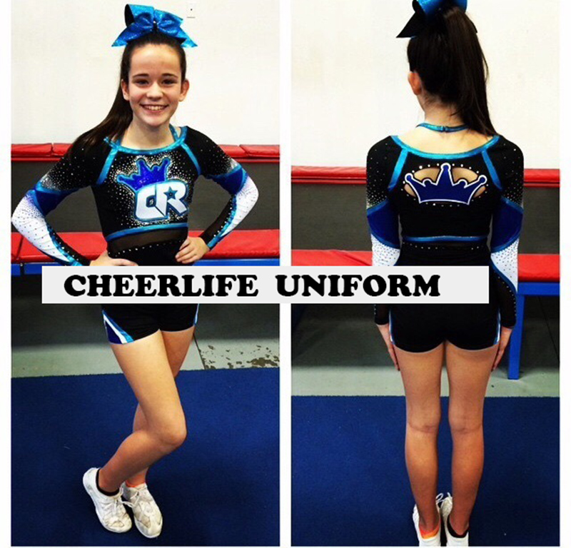 Competion Cheerleader Uniform male female Performance Sport outfit Costume  Pom pom Hairbow Custom Style High quality -in Cheerleading Uniforms from  Sports ... 9db8e73ef4d9
