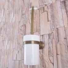 Juego de portaescobilla de baño de latón antiguo Retro Vintage montado en la pared accesorio de baño Taza de cerámica individual mba733