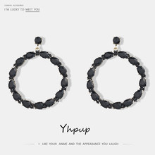 Yhpup New Fashion Crystal Rhinestone Large Round Hollow Drop Dangle Earrings For Wedding Charm Trendy Hoop Earrings Jewelry Gift(China)