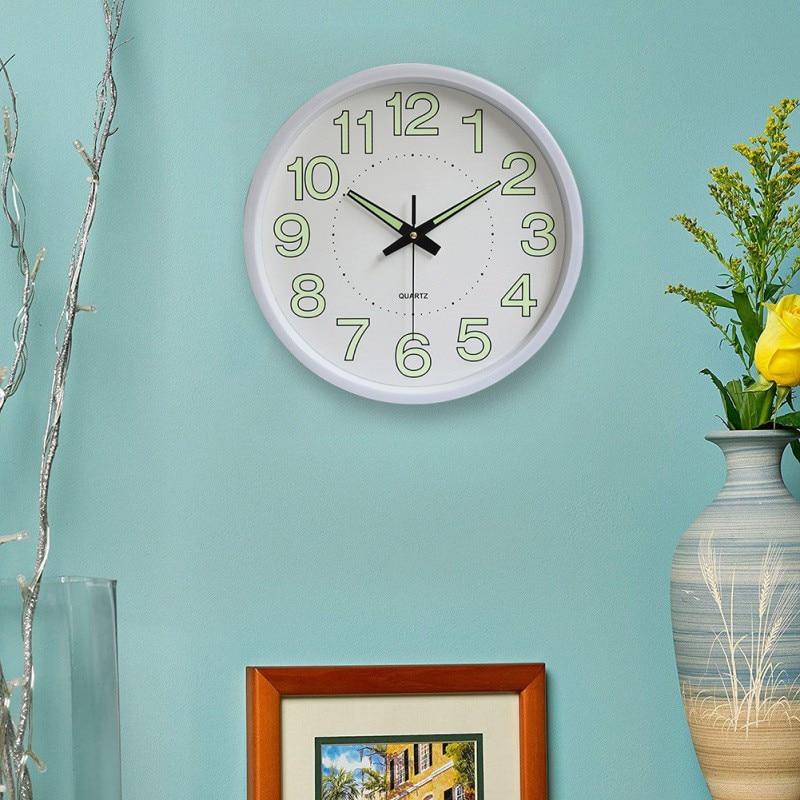 Round Wall Clock Head Clock Quartz Movement Luminous Alarm Clock For Home Living Room Office