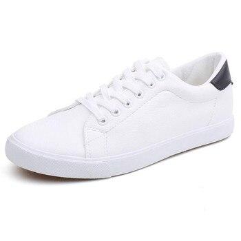 Sapatos masculinos de alta qualidade primavera outono couro pu lace-up branco preto estilo luz respirável moda tênis vulcanizados sapatos 1