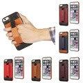 Retro case back case titular de la tarjeta soporte de cuero suave correa de mano para iphone 6 6 s 4.7/6 6 s más 5.5 cubierta del teléfono móvil