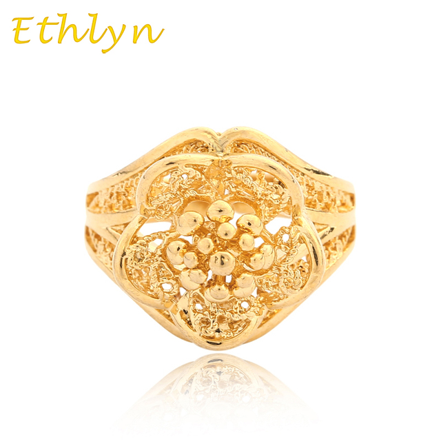 Ethlyn Flower Ethiopian Wedding Ring Gold Color Free Size For Arab African Middle