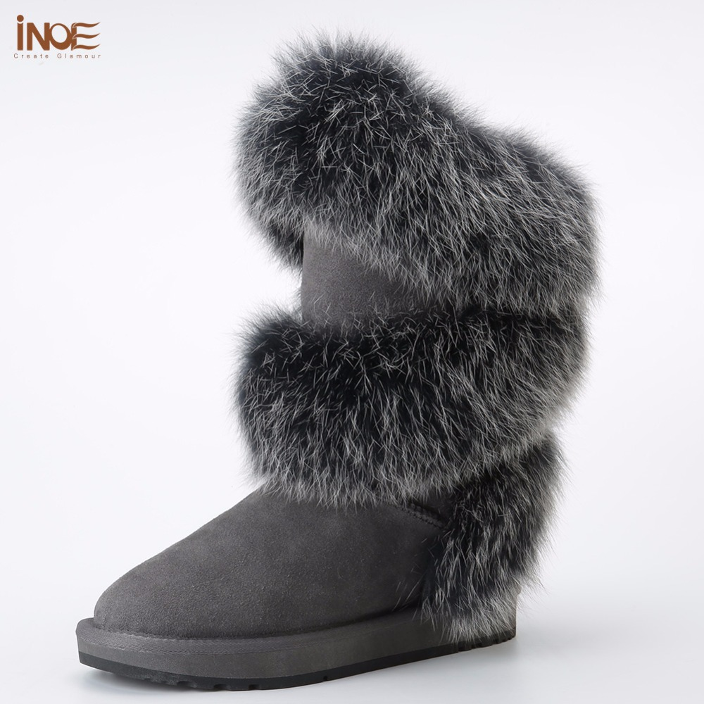 INOE new style fashion real fox fur women high winter snow boots sheepskin suede leather sheep fur lined winter shoes black grey inoe fashion fox fur real sheepskin leather long wool lined thigh suede women winter snow boots high quality botas shoes black