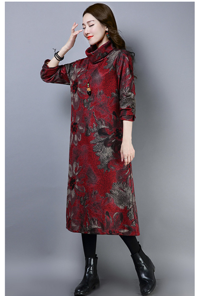 2019 New Women Spring Autumn Dresses Turtleneck Printed Female Long Sleeve Vintage Robe Dress Vestido 64