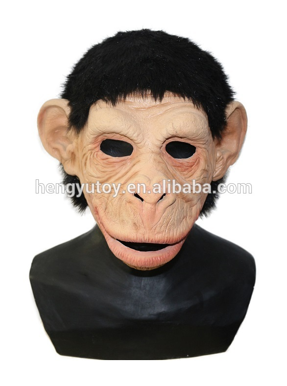 Adult Animal Fancy Dress Latex Orangutan Monkey Ape Baboon Head Mask Action Mouth Moves