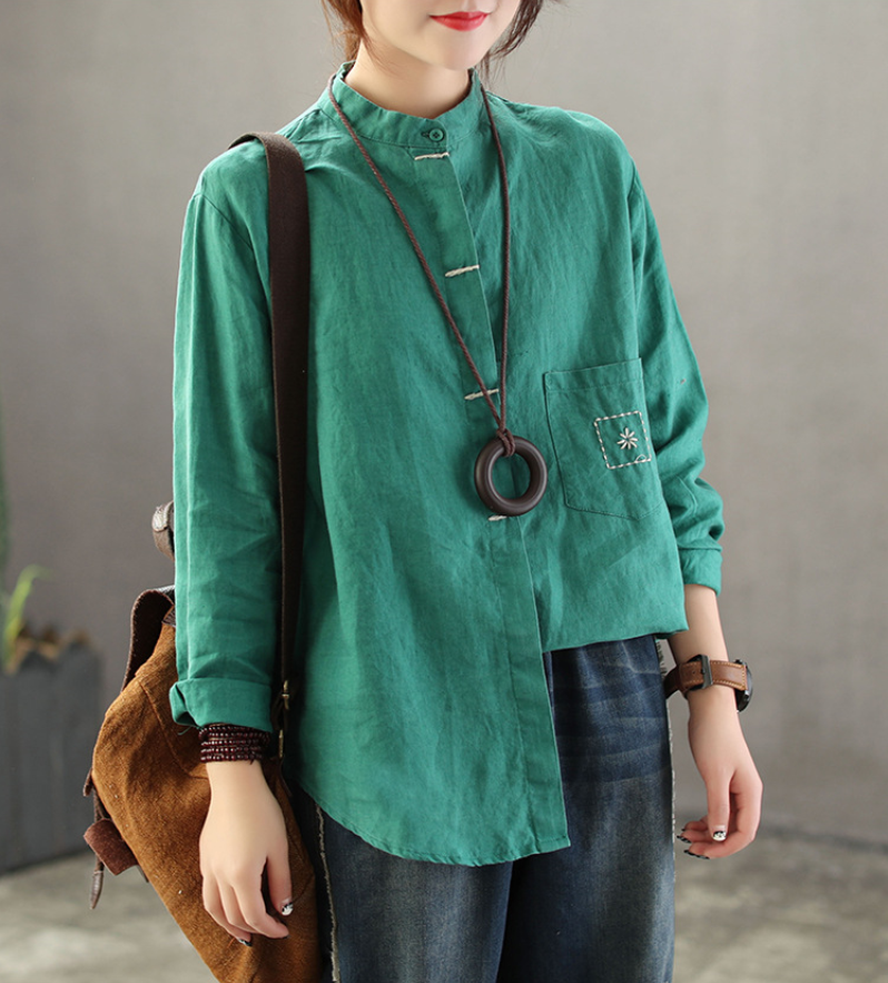 Spring Autumn Blouse Retro Loose Women Shirt Tops Stand Cardigan Button Mori girl Blended Casual Ladies Solid color Shirt
