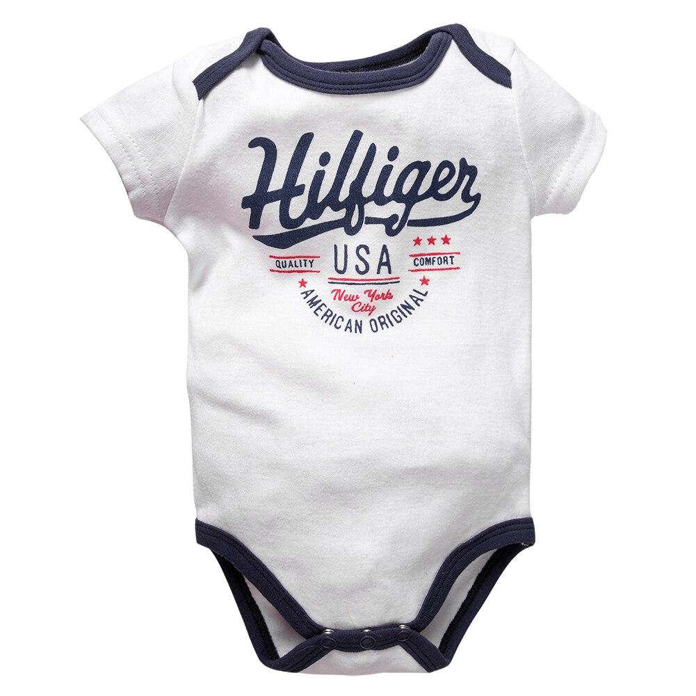 2019 Newborn Baby Boy Clothes Crew Letter Print 6-12Months Baby Toddler Kids Boys Short-Sleeve Onesies Bodysuit