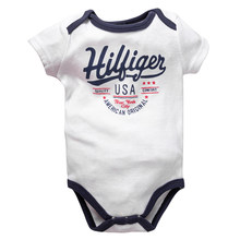 2019 Newborn Baby Boy Clothes Crew Letter Print 6-12Months Baby Toddler Kids Boys Short-Sleeve Onesies Bodysuit(China)