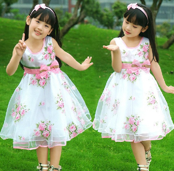 New Summer Chidren Girls Chiffon Dresses Kids Girls Princess Dress Big Pendulum Rose Veil Flower Dresses
