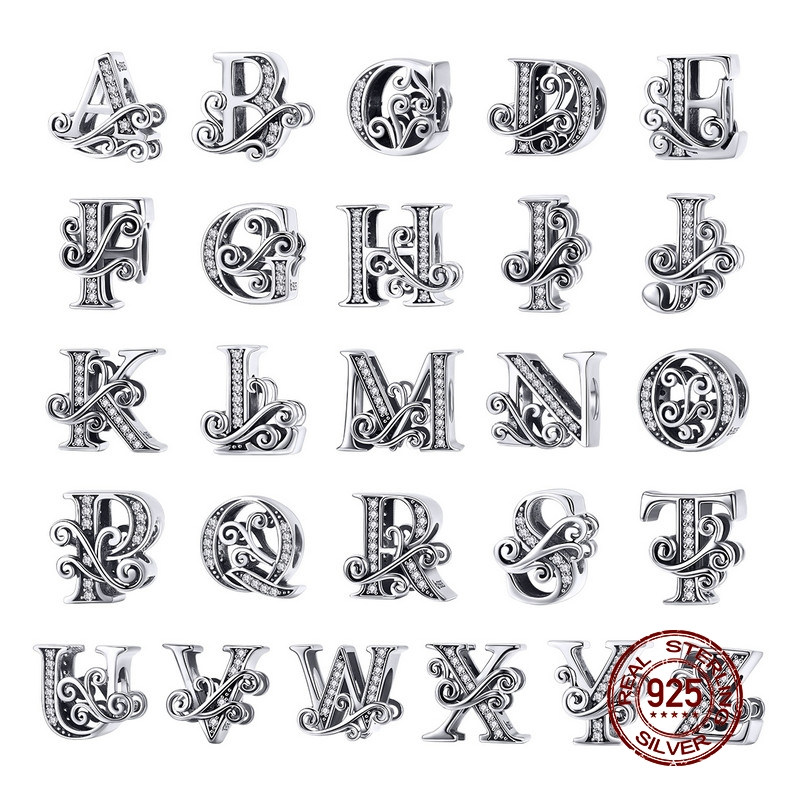 37a84d8b9 MOWIMO Real 925 Sterling Silver Letter Alphabet A-Z Charm Name Bead Fit  Original Pandora Bracelets Pendant Jewelry Making BNC030