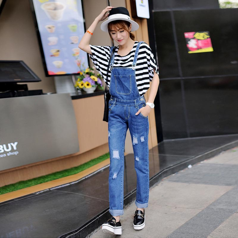 New Fashion Women's Jeans Overalls High Waist Ripped Holes Jeans Bib Summer Baggy Casual Loose Plus Size White Jumpsuits&Rompers 2017 new summer discount work wear bib pants men s plus size tooling uniform jumpsuits loose casual overalls size m xxxl