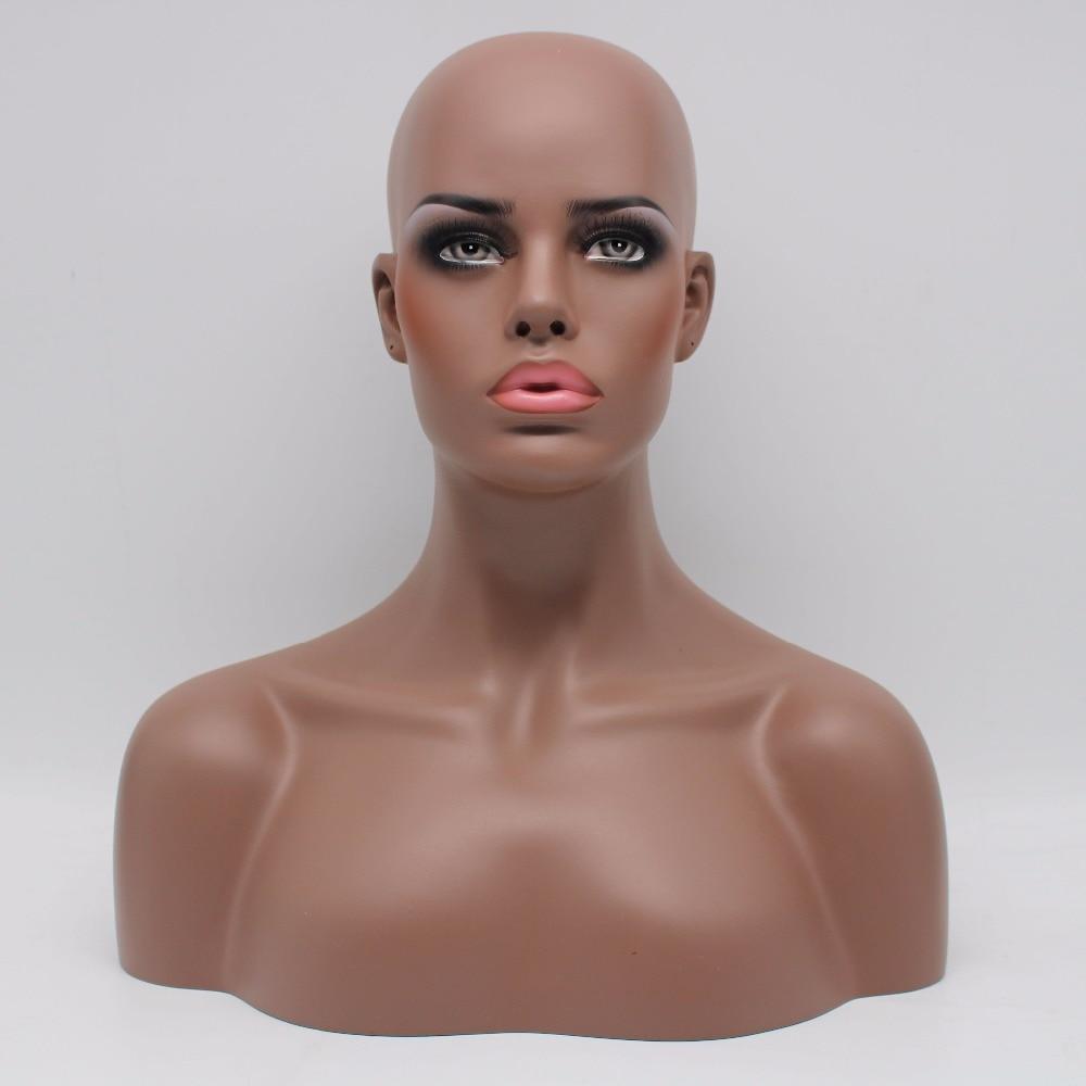 Busto de cabeza de maniquí hembra afroamericano negro de fibra de vidrio realista para pelucas