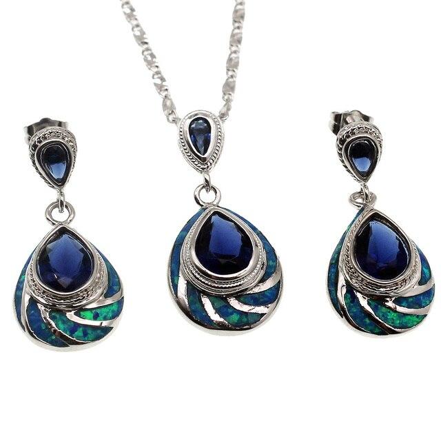 Fire Australian Opal Jewelry Set 925 Sterling Silver Earrings Pendant Necklace Modern Beauty Women Gift