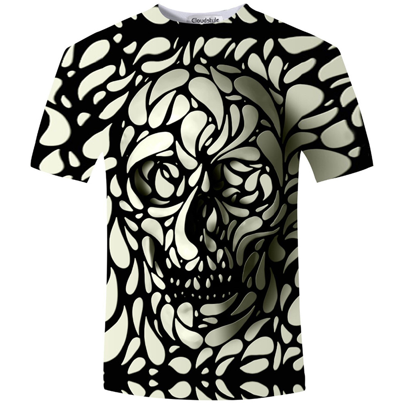 Cloudstyle New Summer Style 3D särk Skull HD Print t-särk Men Women Harajuku Short Sleeve Tee särgid Fashion Clothing S-5XL