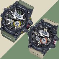 Moda Ordu Serin Erkekler Askeri İzle Kauçuk Kayış Saat Çelik Kasa G Su Geçirmez Şok Saatler Spor Casual LED Dijital Saat