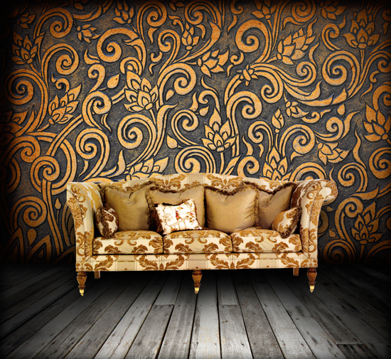 HUAYI Furniture Studio Photography Background Damask Wallpaper And Wooden  Floor Backdrop Art Fabric Cloth