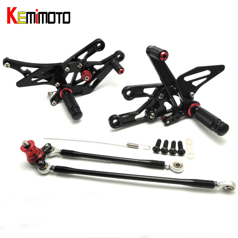 KEMiMOTO CNC Adjustable Rearsets Foot Rest Foot Pegs For Honda CBR1000RR 2004 2005 2006 2007 CBR600RR 2003-2006 CBR 600RR 1000RR for honda cbr600rr cbr 600rr 2003 2004 2005 2006 motorcycle folding extendable brake clutch levers logo cbr600rr