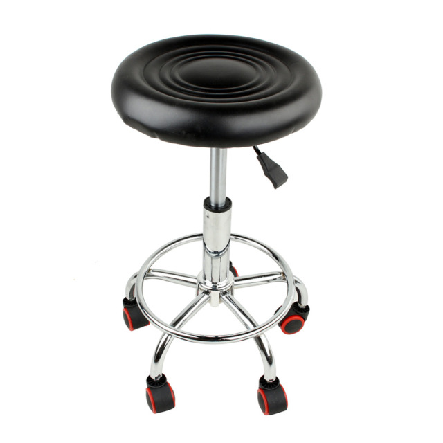 5 Rolls Leather Stool Height Adjustable Bar Chair Work Rotating Chair  Swivel Stool Adjustable Bar Stools
