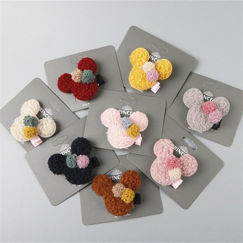 Winter New Cute Minnie Ears Baby Hairpins Hair Clips Barrettes Accessories For Girls Kids Children Hairclip Headdress   Headwear