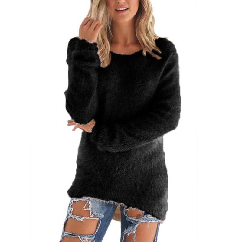 Drop Ship Pullovers Autumn Winter Women's O-Neck Sweater Female Hedging Loose Pullover Casual Solid Sweaters Wholesale S4